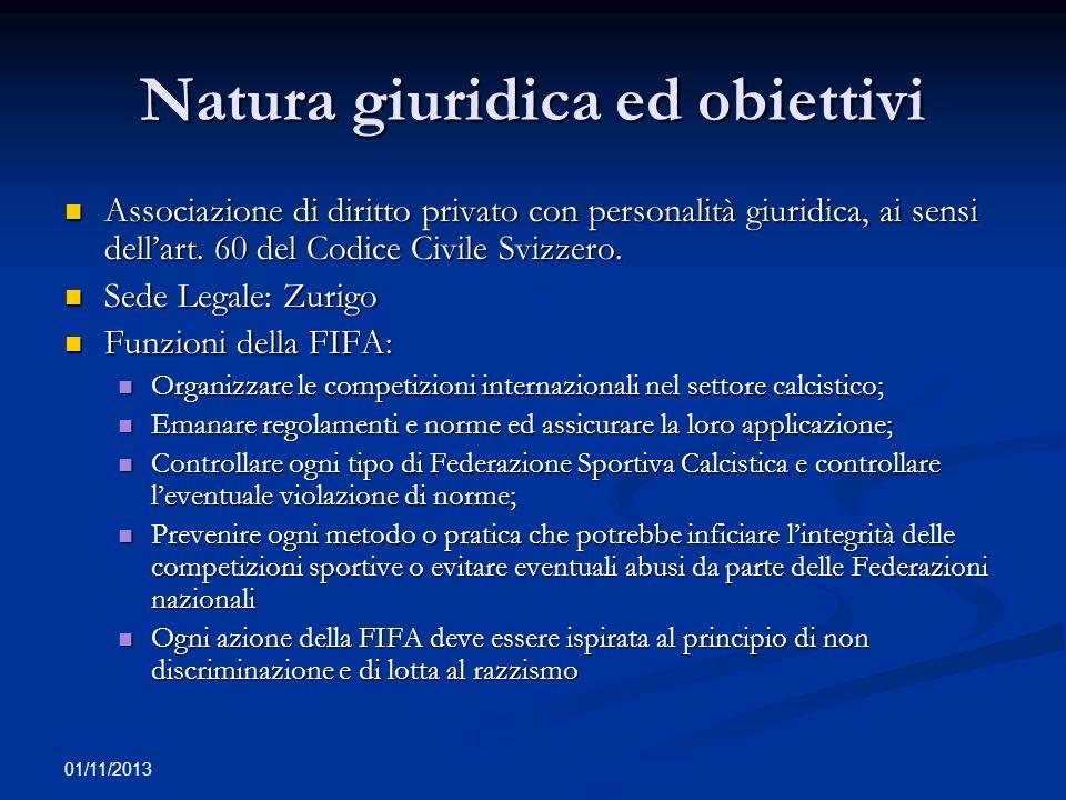 01/11/2013 Natura giuridica ed obiettivi Associazione di diritto privato con personalità giuridica, ai sensi dellart. 60 del Codice Civile Svizzero. A