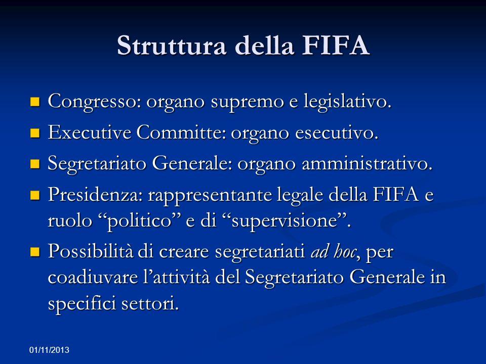 01/11/2013 Struttura della FIFA Congresso: organo supremo e legislativo. Congresso: organo supremo e legislativo. Executive Committe: organo esecutivo
