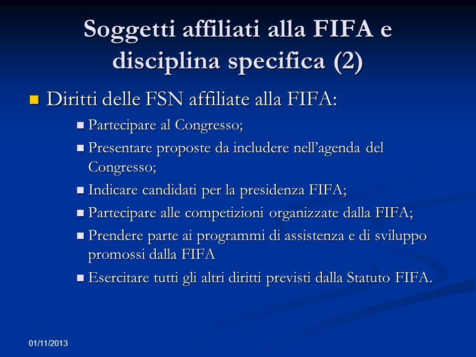 01/11/2013 Soggetti affiliati alla FIFA e disciplina specifica (2) Diritti delle FSN affiliate alla FIFA: Diritti delle FSN affiliate alla FIFA: Parte