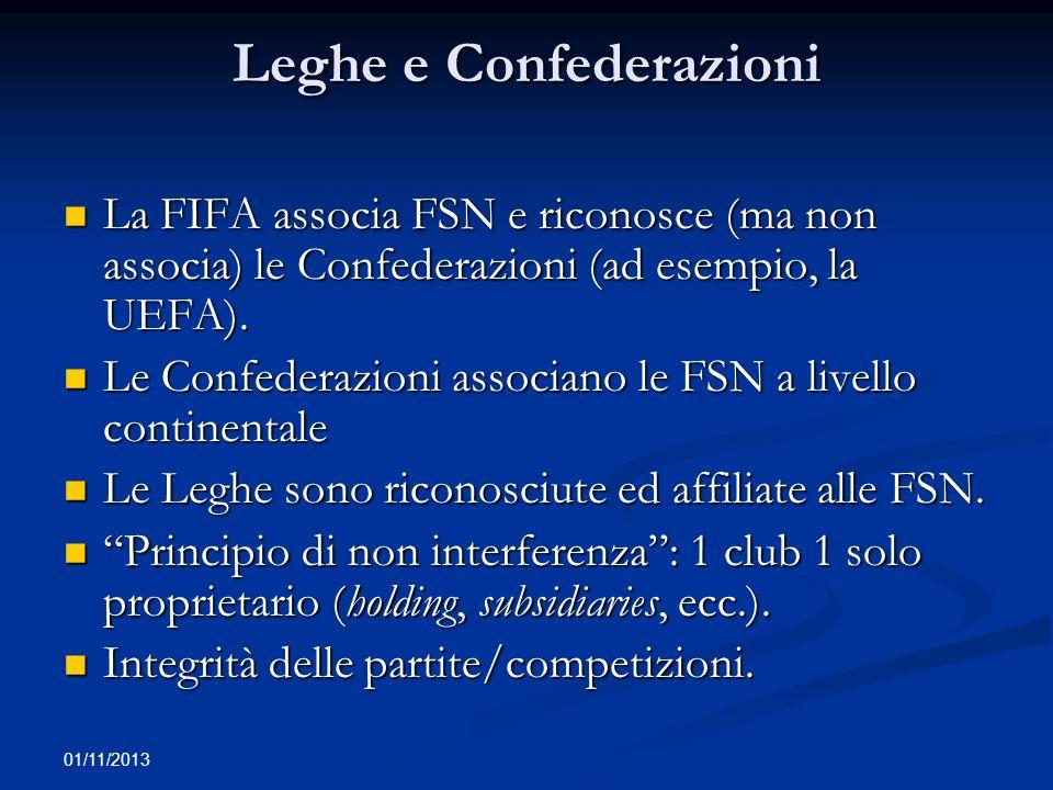 01/11/2013 Leghe e Confederazioni La FIFA associa FSN e riconosce (ma non associa) le Confederazioni (ad esempio, la UEFA). La FIFA associa FSN e rico