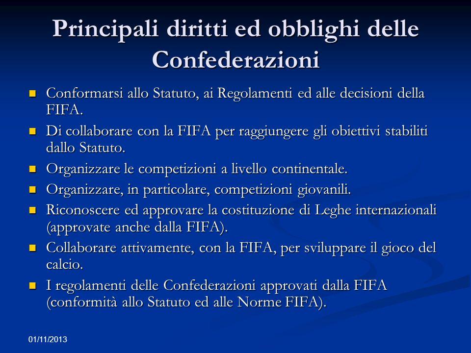 01/11/2013 Principali diritti ed obblighi delle Confederazioni Conformarsi allo Statuto, ai Regolamenti ed alle decisioni della FIFA. Conformarsi allo