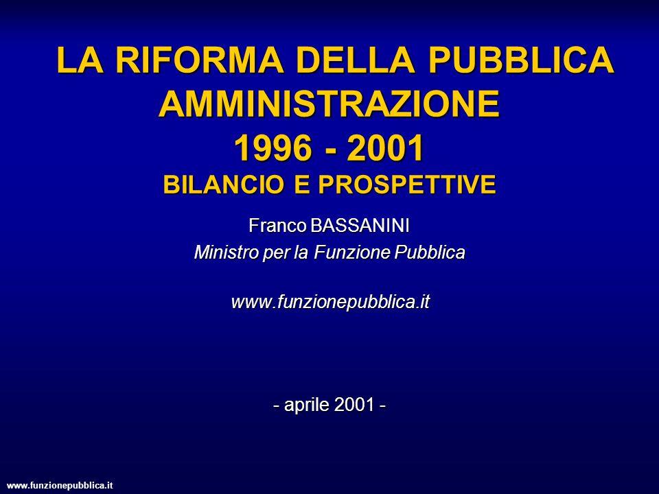 www.funzionepubblica.it LA RIFORMA DELLA PUBBLICA AMMINISTRAZIONE 1996 - 2001 BILANCIO E PROSPETTIVE LA RIFORMA DELLA PUBBLICA AMMINISTRAZIONE 1996 -