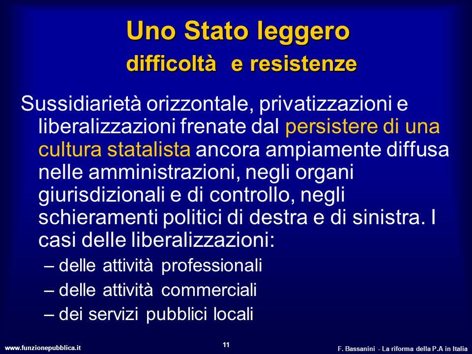 www.funzionepubblica.it F. Bassanini - La riforma della P.A in Italia 11 Uno Stato leggero difficoltà e resistenze Sussidiarietà orizzontale, privatiz