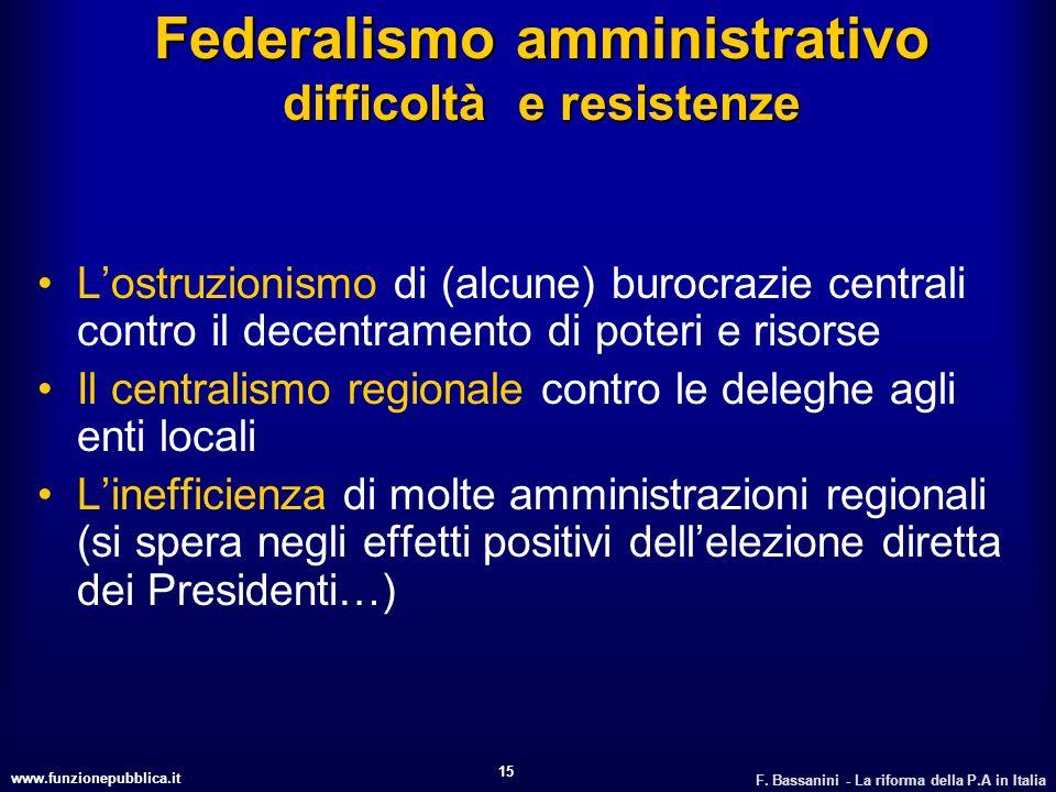 www.funzionepubblica.it F. Bassanini - La riforma della P.A in Italia 15 Federalismo amministrativo difficoltà e resistenze Lostruzionismo di (alcune)