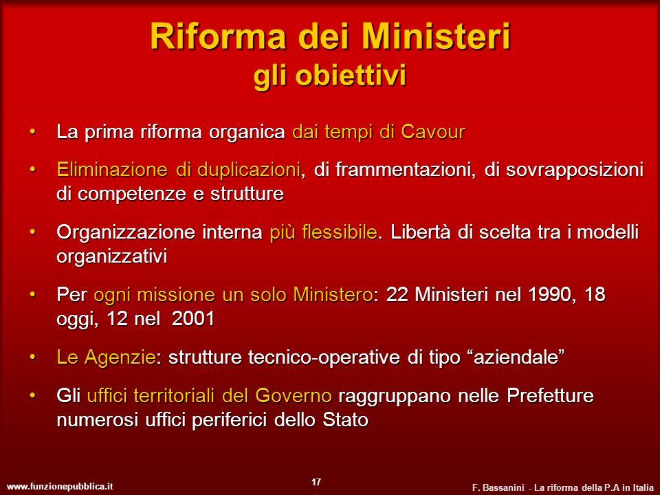 www.funzionepubblica.it F. Bassanini - La riforma della P.A in Italia 17 Riforma dei Ministeri gli obiettivi La prima riforma organica dai tempi di Ca