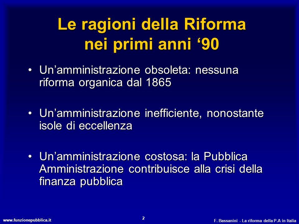 www.funzionepubblica.it F. Bassanini - La riforma della P.A in Italia 2 Le ragioni della Riforma nei primi anni 90 Unamministrazione obsoleta: nessuna