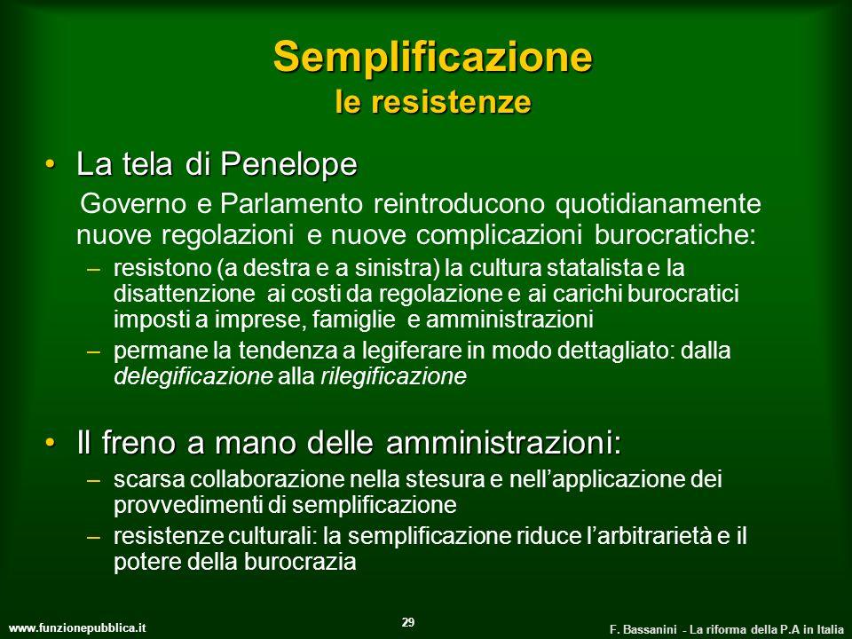www.funzionepubblica.it F. Bassanini - La riforma della P.A in Italia 29 Semplificazione le resistenze La tela di PenelopeLa tela di Penelope Governo