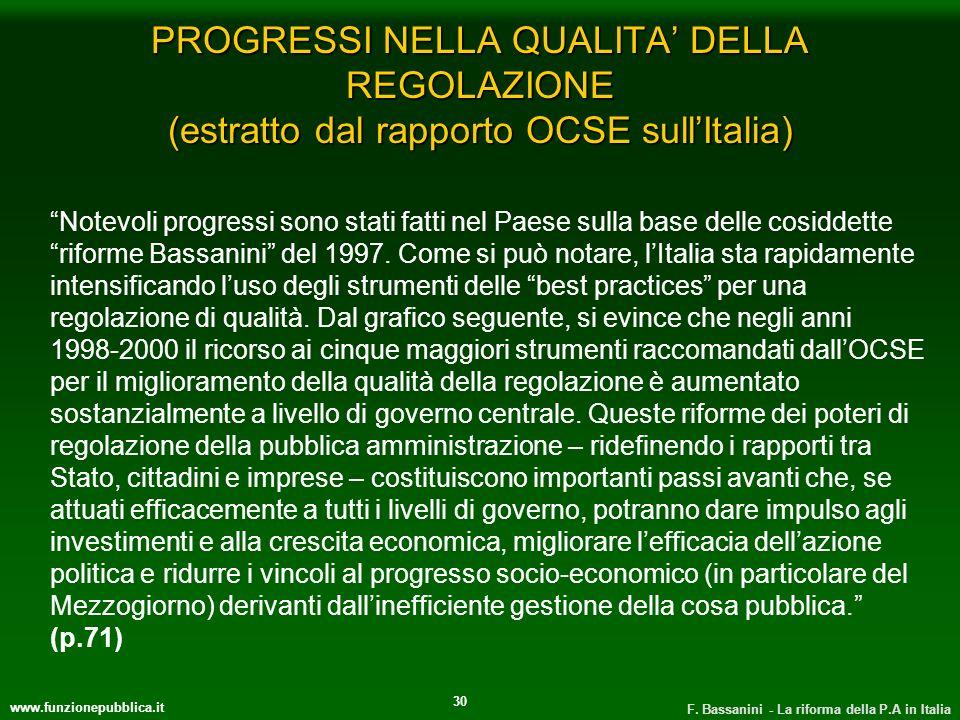 www.funzionepubblica.it F. Bassanini - La riforma della P.A in Italia 30 PROGRESSI NELLA QUALITA DELLA REGOLAZIONE (estratto dal rapporto OCSE sullIta