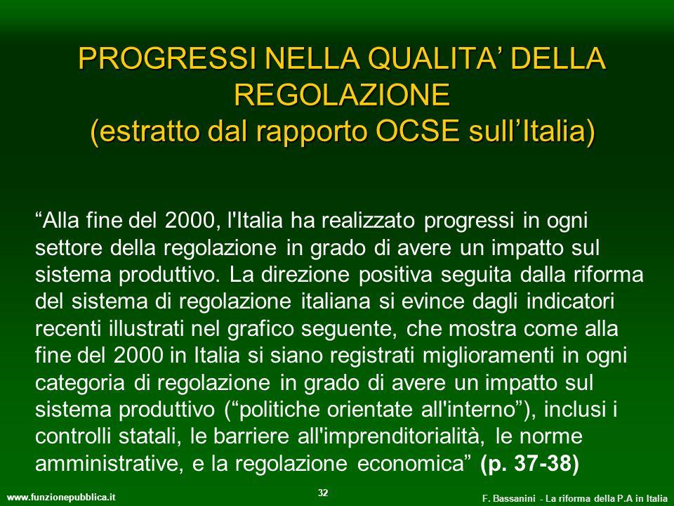 www.funzionepubblica.it F. Bassanini - La riforma della P.A in Italia 32 PROGRESSI NELLA QUALITA DELLA REGOLAZIONE (estratto dal rapporto OCSE sullIta
