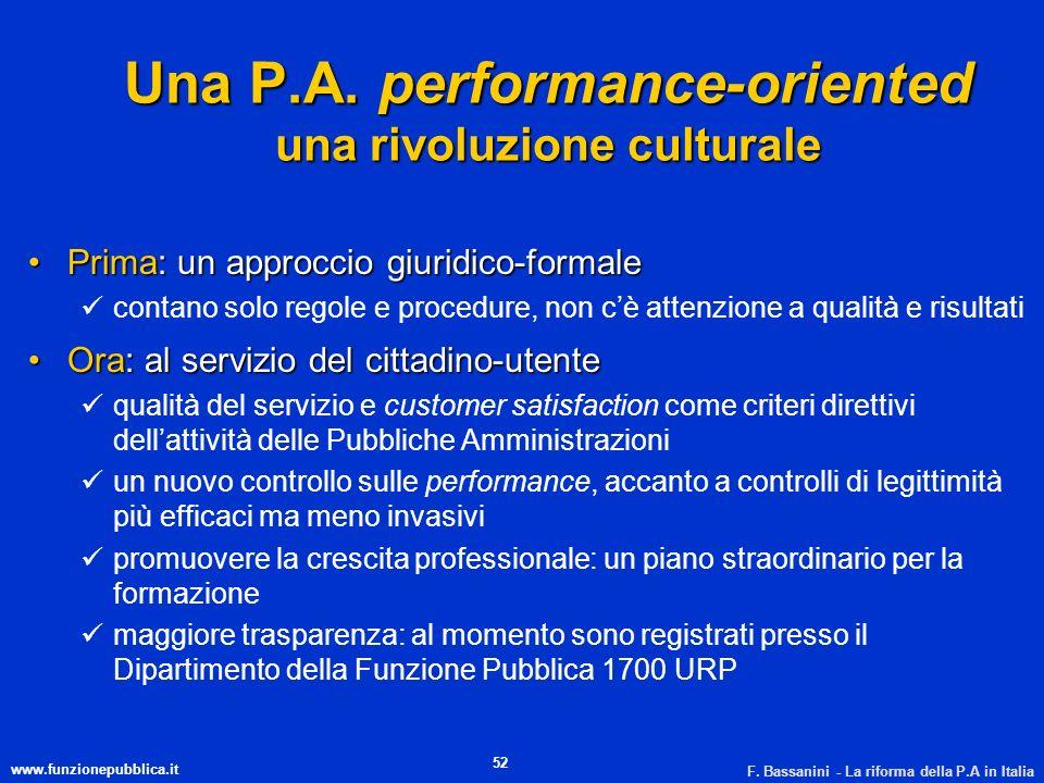 www.funzionepubblica.it F. Bassanini - La riforma della P.A in Italia 52 Una P.A. performance-oriented una rivoluzione culturale Prima: un approccio g