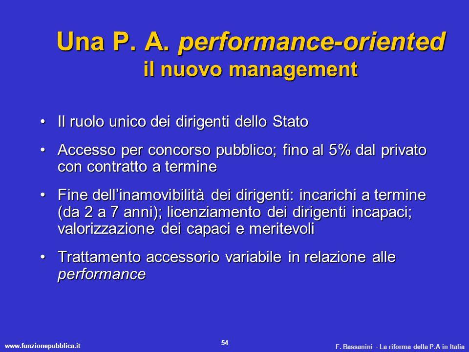 www.funzionepubblica.it F. Bassanini - La riforma della P.A in Italia 54 Una P. A. performance-oriented il nuovo management Il ruolo unico dei dirigen