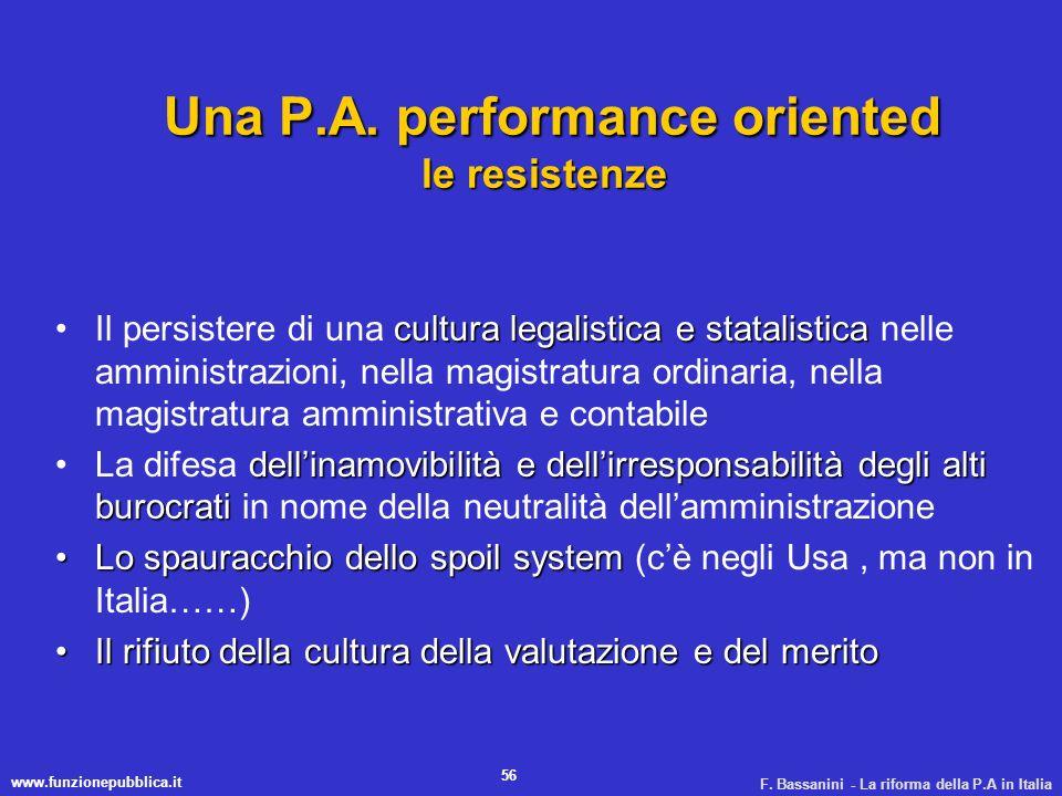 www.funzionepubblica.it F. Bassanini - La riforma della P.A in Italia 56 Una P.A. performance oriented le resistenze Una P.A. performance oriented le