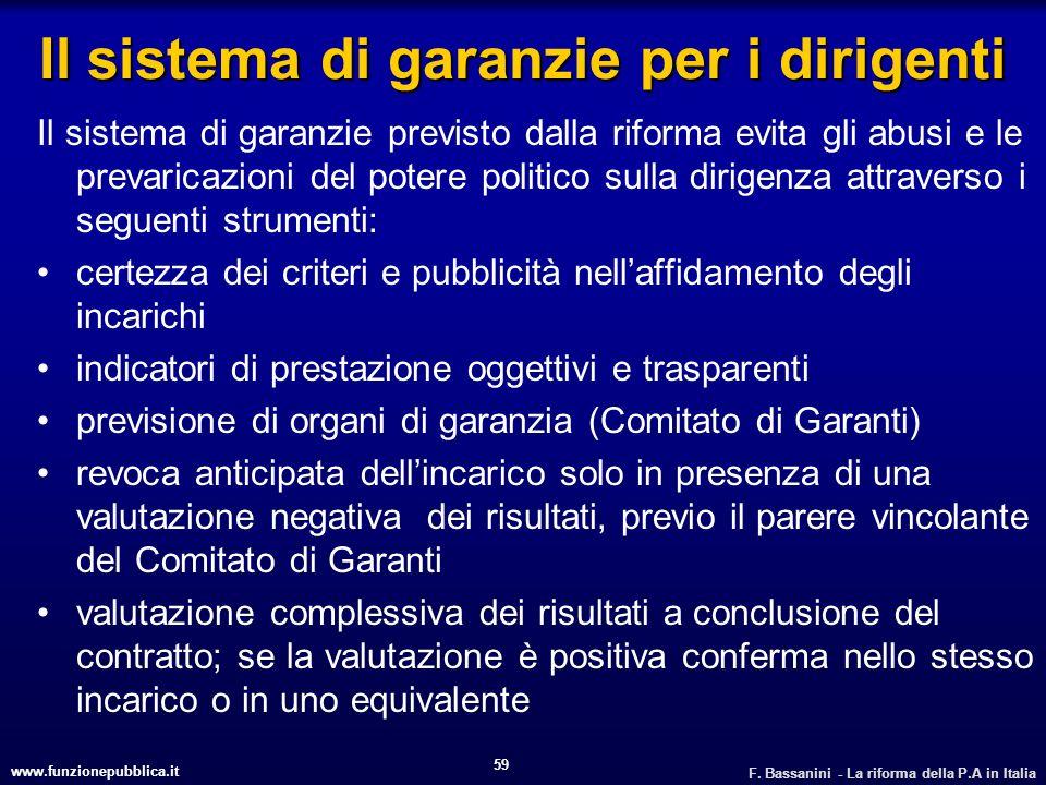 www.funzionepubblica.it F. Bassanini - La riforma della P.A in Italia 59 Il sistema di garanzie per i dirigenti Il sistema di garanzie previsto dalla