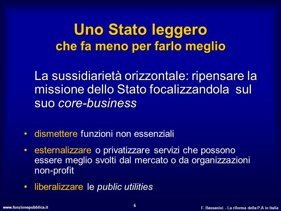 www.funzionepubblica.it F. Bassanini - La riforma della P.A in Italia 6 Uno Stato leggero che fa meno per farlo meglio La sussidiarietà orizzontale: r
