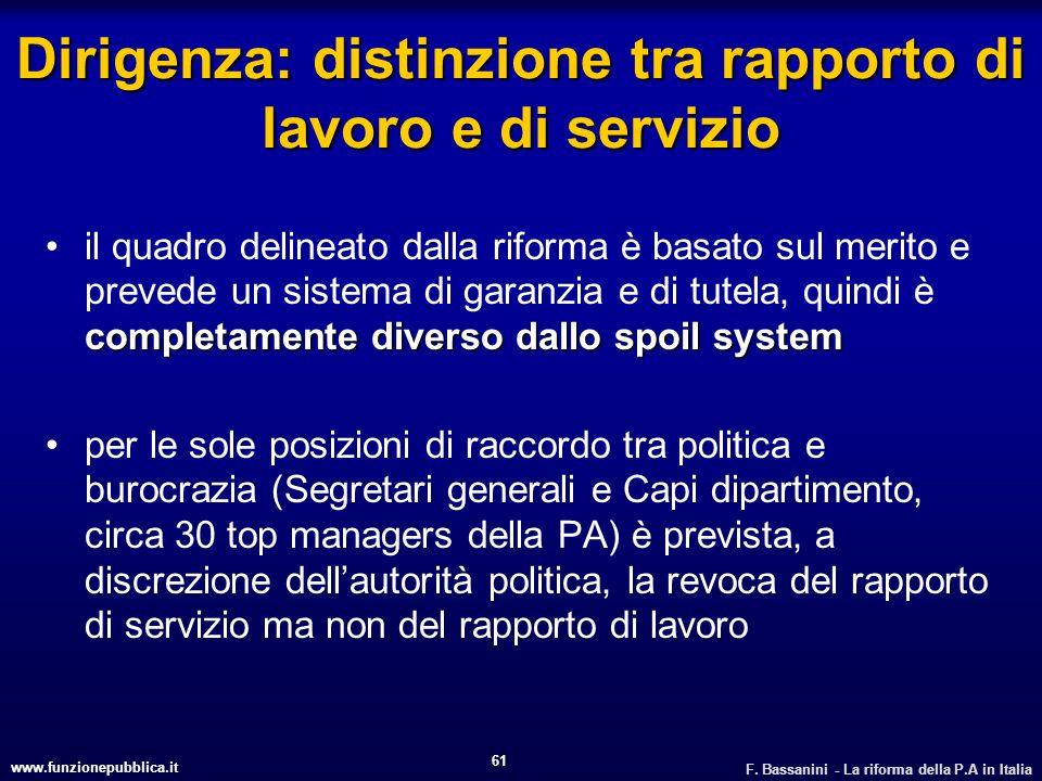 www.funzionepubblica.it F. Bassanini - La riforma della P.A in Italia 61 Dirigenza: distinzione tra rapporto di lavoro e di servizio completamente div