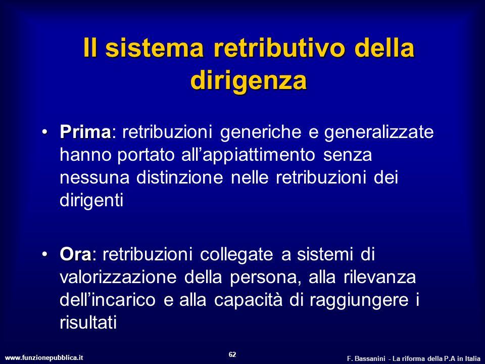 www.funzionepubblica.it F. Bassanini - La riforma della P.A in Italia 62 Il sistema retributivo della dirigenza PrimaPrima: retribuzioni generiche e g