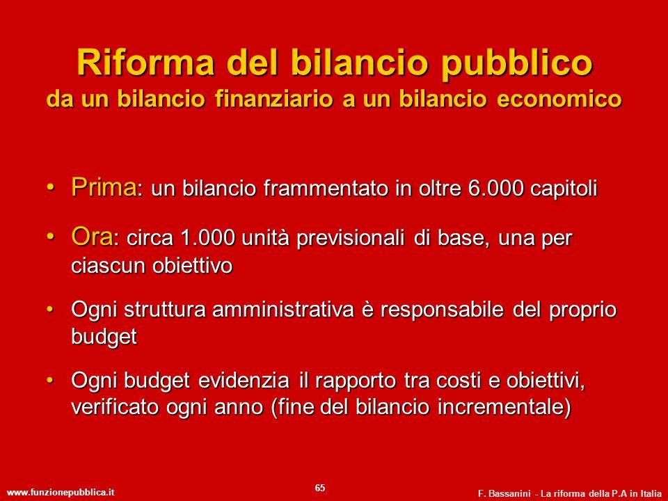 www.funzionepubblica.it F. Bassanini - La riforma della P.A in Italia 65 Riforma del bilancio pubblico da un bilancio finanziario a un bilancio econom