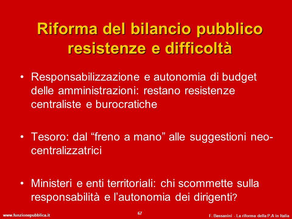 www.funzionepubblica.it F. Bassanini - La riforma della P.A in Italia 67 Riforma del bilancio pubblico resistenze e difficoltà Responsabilizzazione e