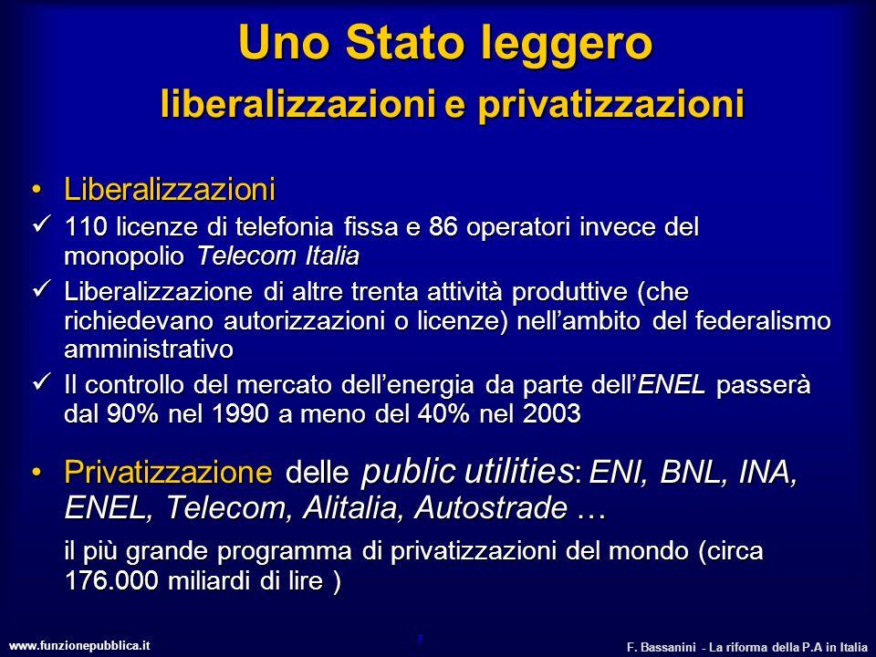 www.funzionepubblica.it F. Bassanini - La riforma della P.A in Italia 7 Uno Stato leggero liberalizzazioni e privatizzazioni LiberalizzazioniLiberaliz