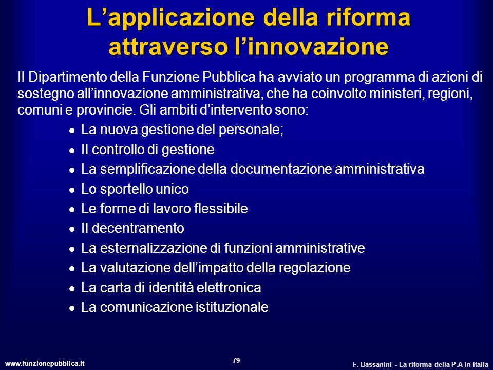 www.funzionepubblica.it F. Bassanini - La riforma della P.A in Italia 79 Lapplicazione della riforma attraverso linnovazione Il Dipartimento della Fun