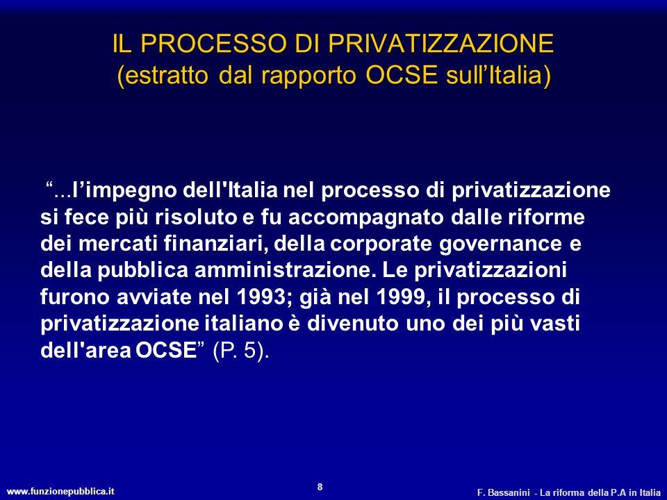 www.funzionepubblica.it F. Bassanini - La riforma della P.A in Italia 8 IL PROCESSO DI PRIVATIZZAZIONE (estratto dal rapporto OCSE sullItalia)...limpe