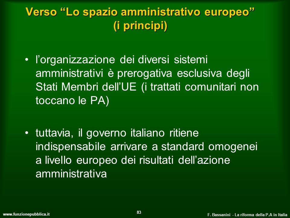 www.funzionepubblica.it F. Bassanini - La riforma della P.A in Italia 83 Verso Lo spazio amministrativo europeo (i principi) lorganizzazione dei diver