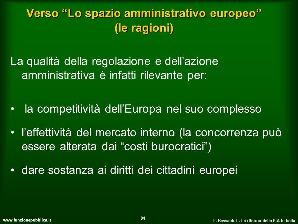 www.funzionepubblica.it F. Bassanini - La riforma della P.A in Italia 84 Verso Lo spazio amministrativo europeo (le ragioni) La qualità della regolazi