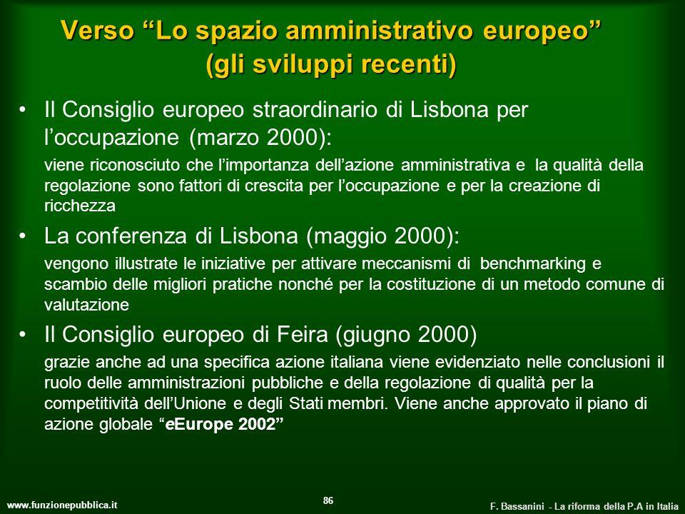 www.funzionepubblica.it F. Bassanini - La riforma della P.A in Italia 86 Verso Lo spazio amministrativo europeo (gli sviluppi recenti) Il Consiglio eu