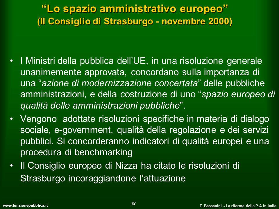 www.funzionepubblica.it F. Bassanini - La riforma della P.A in Italia 87 Lo spazio amministrativo europeo (Il Consiglio di Strasburgo - novembre 2000)