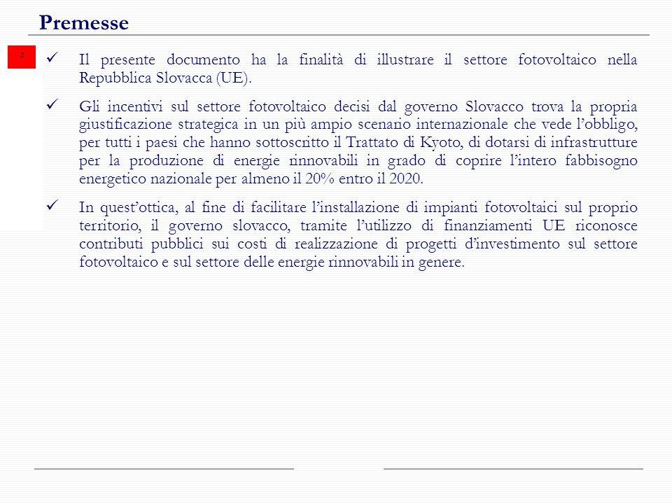 2 Premesse Il presente documento ha la finalità di illustrare il settore fotovoltaico nella Repubblica Slovacca (UE).