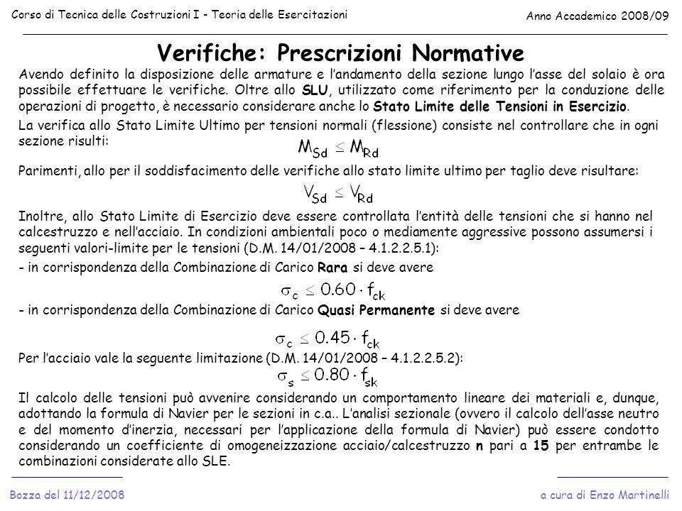 Verifiche: Prescrizioni Normative Corso di Tecnica delle Costruzioni I - Teoria delle Esercitazioni Anno Accademico 2008/09 a cura di Enzo MartinelliB