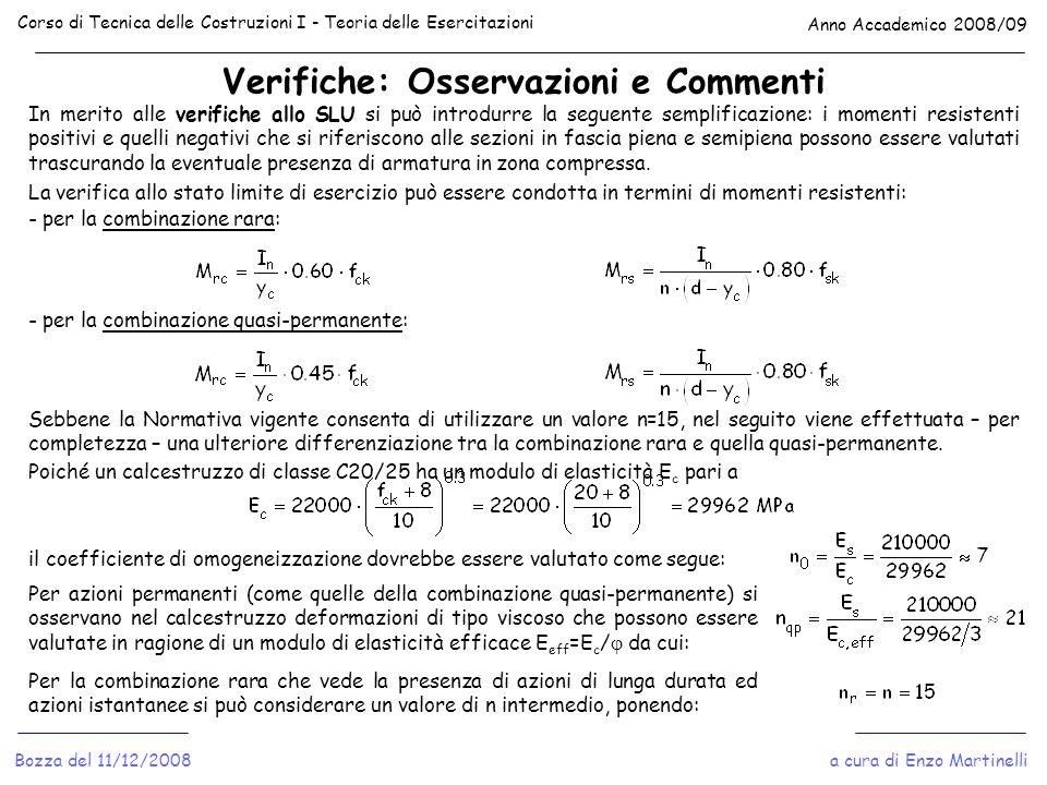 Verifiche: Osservazioni e Commenti Corso di Tecnica delle Costruzioni I - Teoria delle Esercitazioni Anno Accademico 2008/09 a cura di Enzo Martinelli