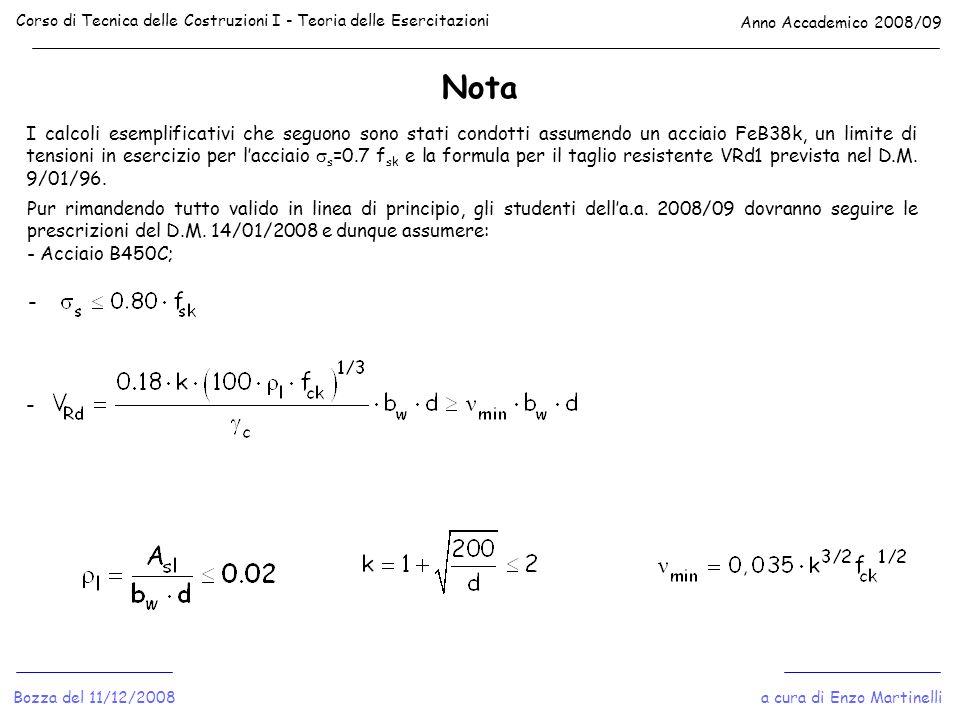 Nota Corso di Tecnica delle Costruzioni I - Teoria delle Esercitazioni Anno Accademico 2008/09 a cura di Enzo MartinelliBozza del 11/12/2008 I calcoli