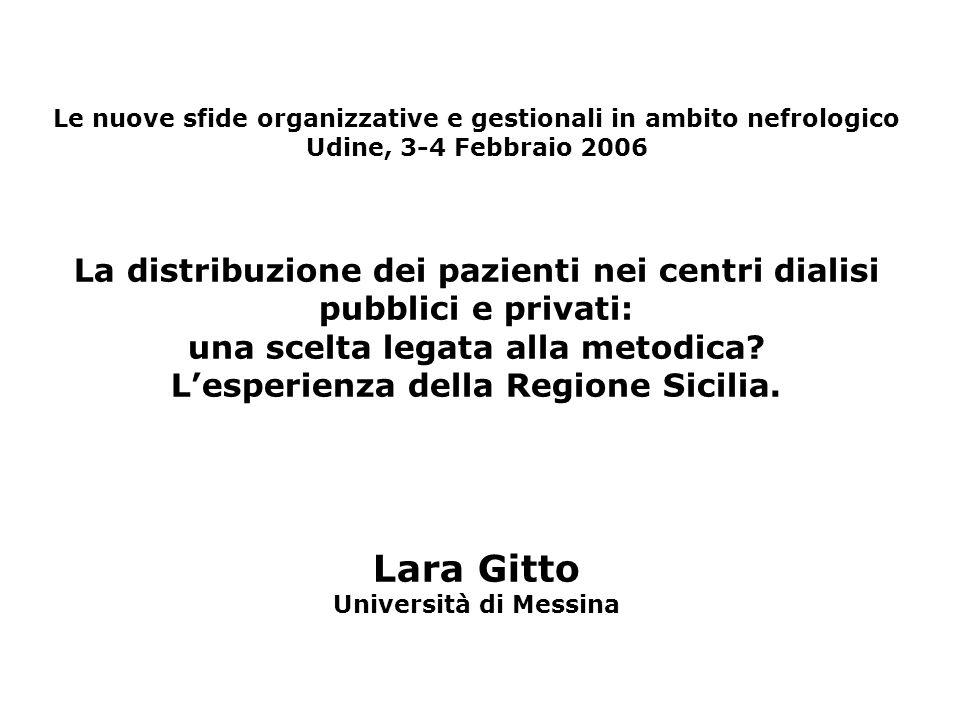 Le nuove sfide organizzative e gestionali in ambito nefrologico Udine, 3-4 Febbraio 2006 La distribuzione dei pazienti nei centri dialisi pubblici e p