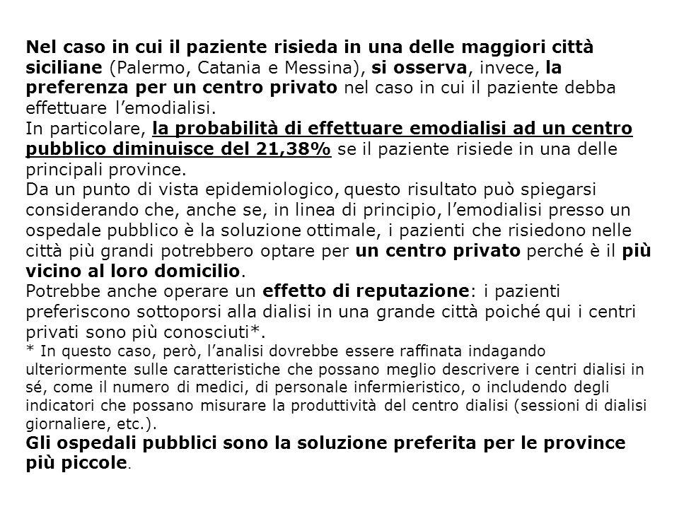 Nel caso in cui il paziente risieda in una delle maggiori città siciliane (Palermo, Catania e Messina), si osserva, invece, la preferenza per un centr