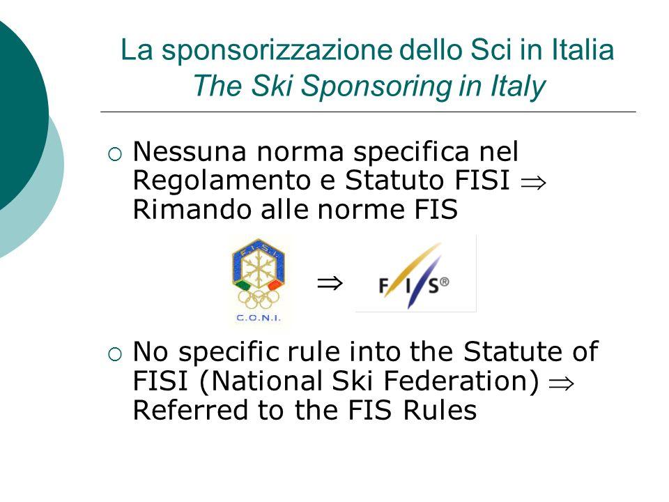 La sponsorizzazione dello Sci in Italia The Ski Sponsoring in Italy Nessuna norma specifica nel Regolamento e Statuto FISI Rimando alle norme FIS No s