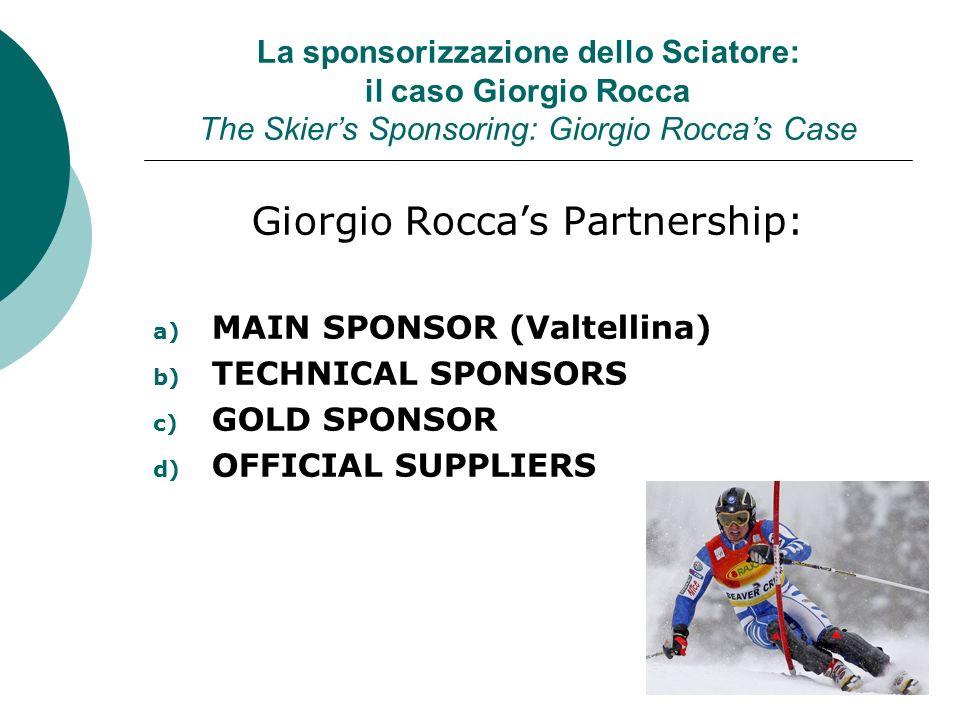La sponsorizzazione dello Sciatore: il caso Giorgio Rocca The Skiers Sponsoring: Giorgio Roccas Case Giorgio Roccas Partnership: a) MAIN SPONSOR (Valt