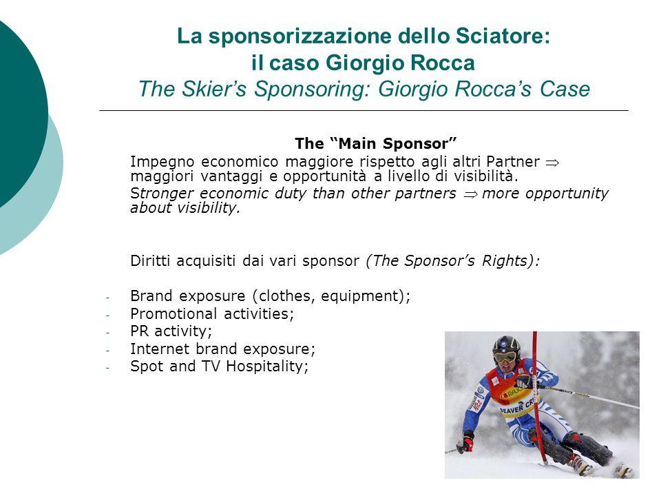 La sponsorizzazione dello Sciatore: il caso Giorgio Rocca The Skiers Sponsoring: Giorgio Roccas Case The Main Sponsor Impegno economico maggiore rispe
