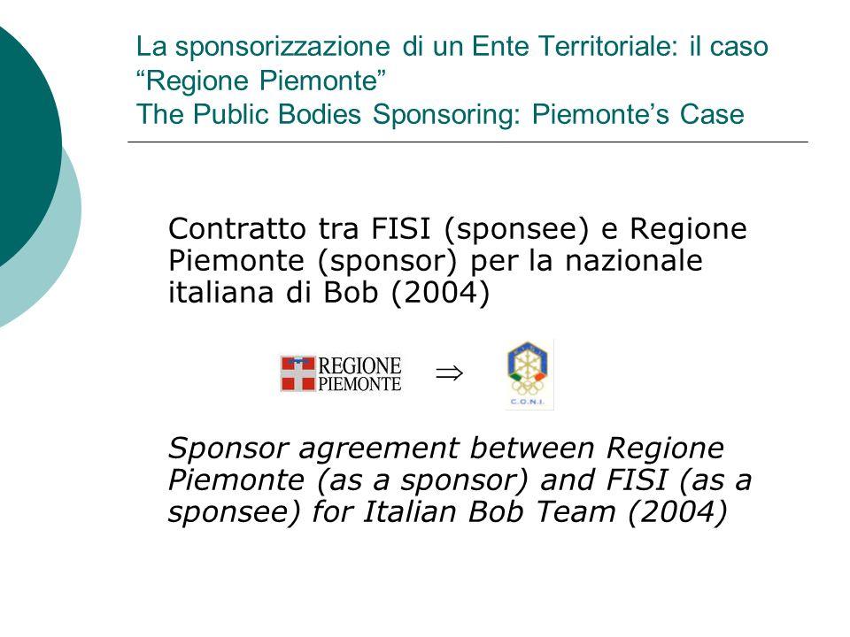 La sponsorizzazione di un Ente Territoriale: il caso Regione Piemonte The Public Bodies Sponsoring: Piemontes Case Contratto tra FISI (sponsee) e Regi