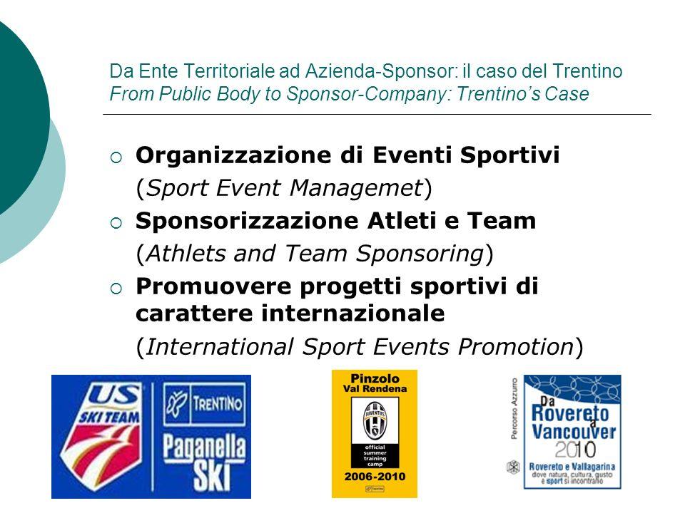Da Ente Territoriale ad Azienda-Sponsor: il caso del Trentino From Public Body to Sponsor-Company: Trentinos Case Organizzazione di Eventi Sportivi (S