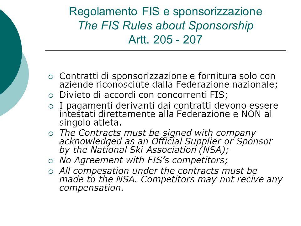 Regolamento FIS e sponsorizzazione The FIS Rules about Sponsorship Artt. 205 - 207 Contratti di sponsorizzazione e fornitura solo con aziende riconosc