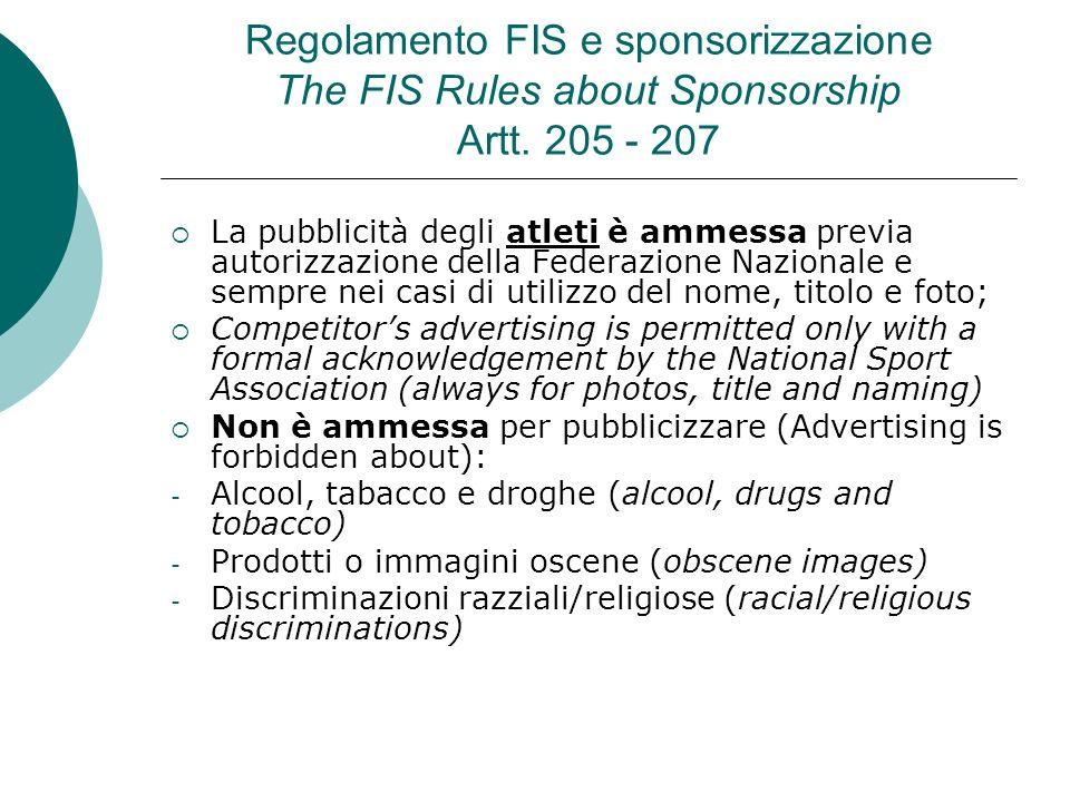 Regolamento FIS e sponsorizzazione The FIS Rules about Sponsorship Artt. 205 - 207 La pubblicità degli atleti è ammessa previa autorizzazione della Fe