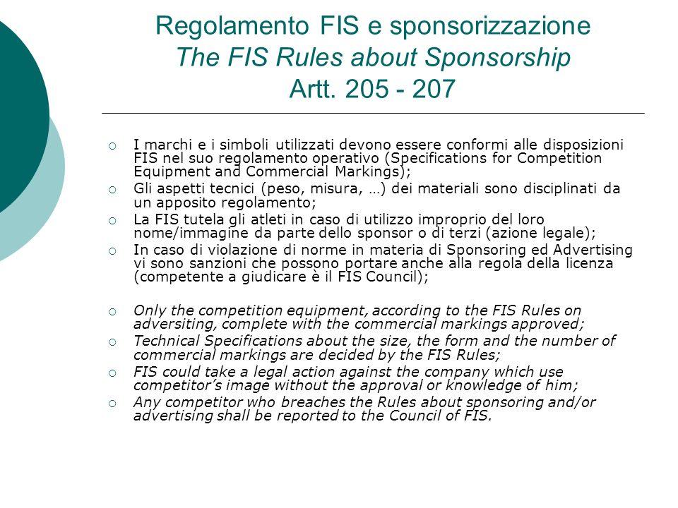 Regolamento FIS e sponsorizzazione The FIS Rules about Sponsorship Artt. 205 - 207 I marchi e i simboli utilizzati devono essere conformi alle disposi