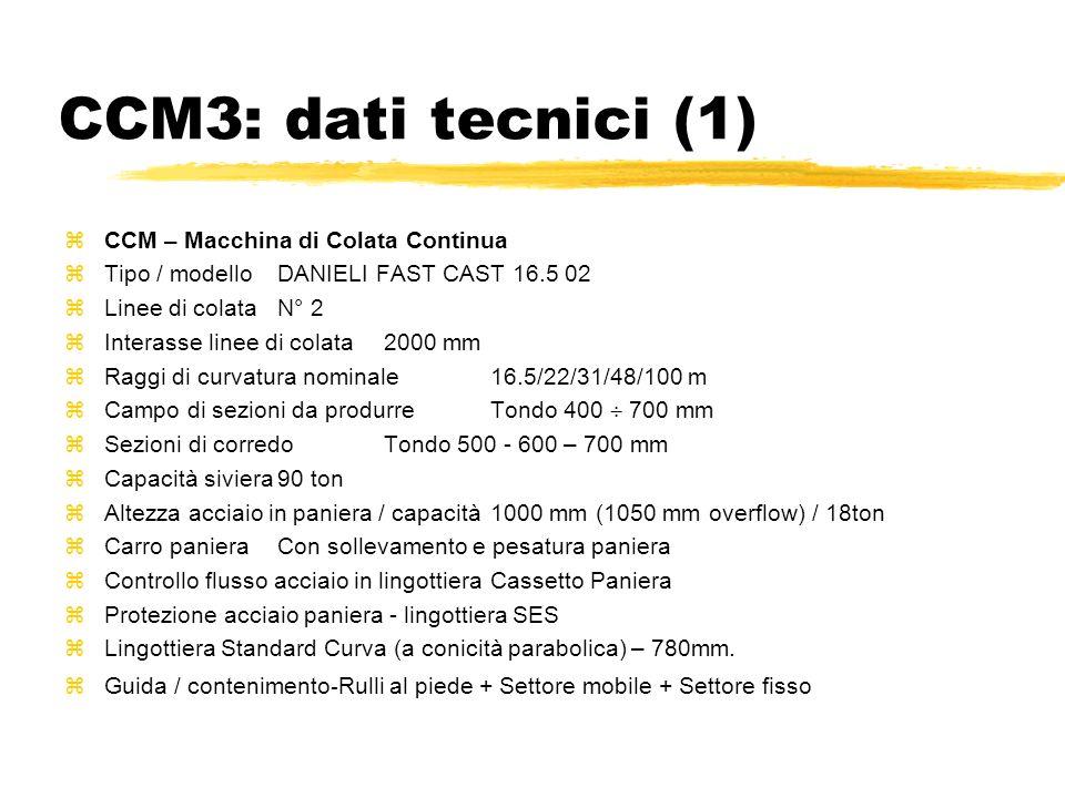 CCM3: dati tecnici (1) zCCM – Macchina di Colata Continua zTipo / modelloDANIELI FAST CAST 16.5 02 zLinee di colataN° 2 zInterasse linee di colata2000
