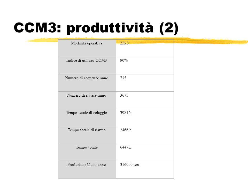 CCM3: produttività (2) Modalità operativa2fly3 Indice di utilizzo CCM390% Numero di sequenze anno735 Numero di siviere anno3675 Tempo totale di colagg