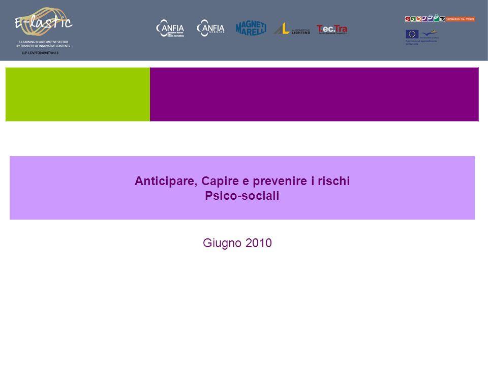 Anticipare, Capire e prevenire i rischi Psico-sociali Giugno 2010