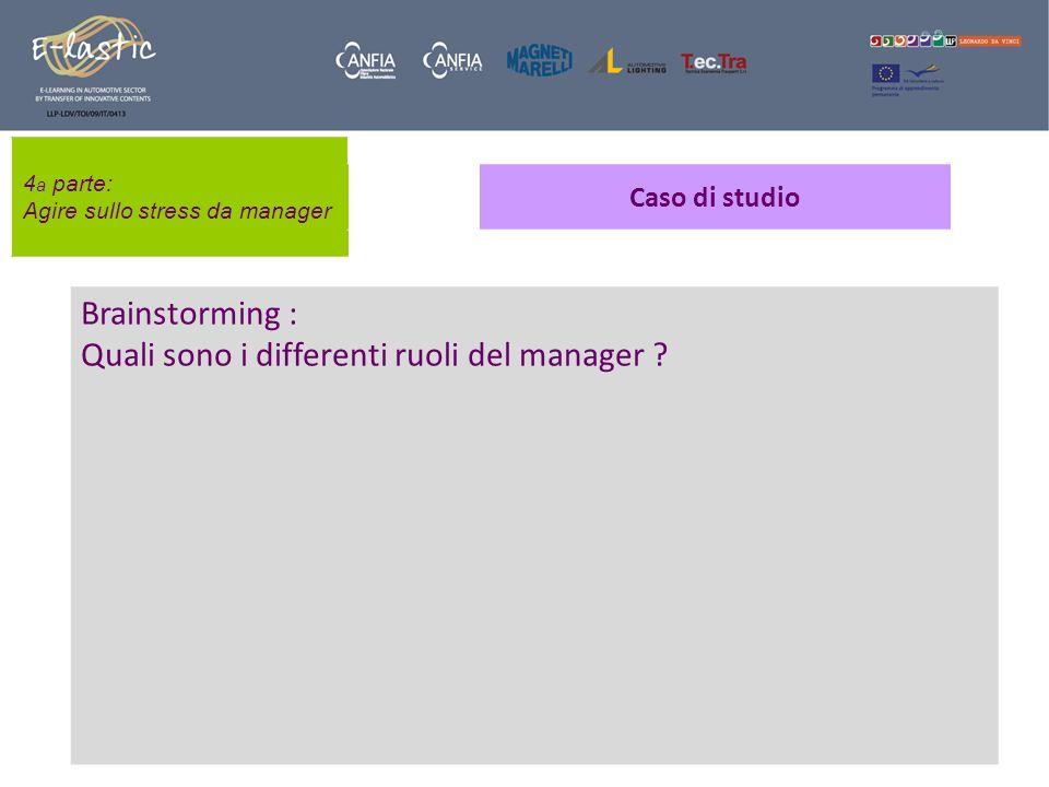 4 a parte: Agire sullo stress da manager Caso di studio Brainstorming : Quali sono i differenti ruoli del manager ?