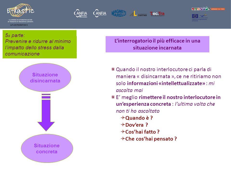 5 a parte: Prevenire e ridurre al minimo limpatto dello stress dalla comunicazione Linterrogatorio il più efficace in una situazione incarnata Situazi