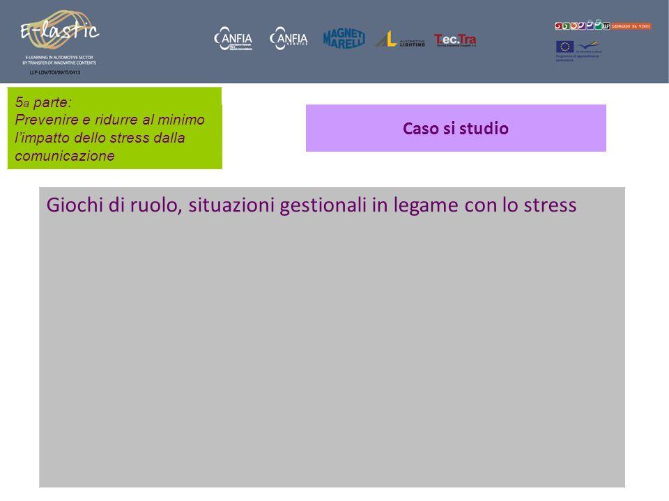 5 a parte: Prevenire e ridurre al minimo limpatto dello stress dalla comunicazione Caso si studio Giochi di ruolo, situazioni gestionali in legame con