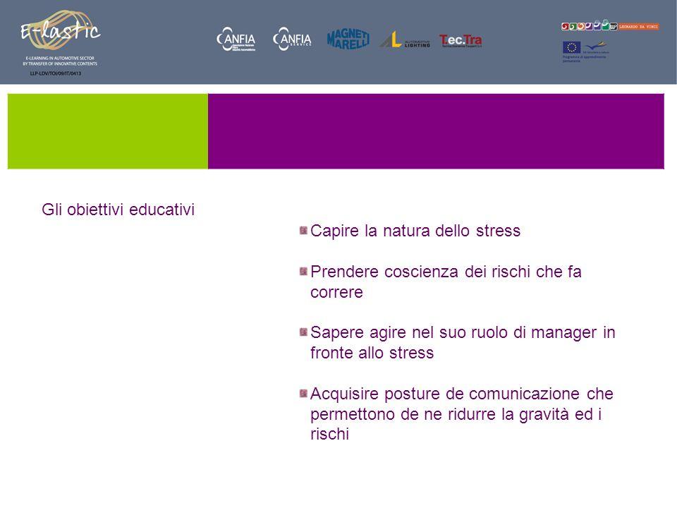 Capire la natura dello stress Prendere coscienza dei rischi che fa correre Sapere agire nel suo ruolo di manager in fronte allo stress Acquisire postu